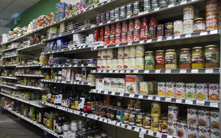 Some ranges of products on the shelves